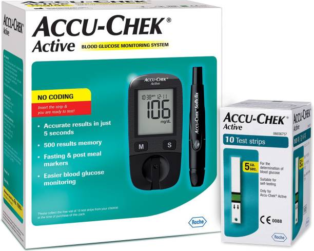 ACCU-CHEK Active Glucose Monitor with 10 Strips Glucometer