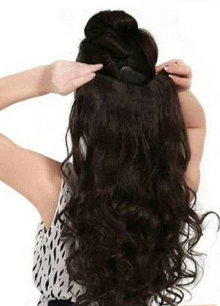 Vedica Stylish 5 Clips Best Quality Natural Brown Wavy  Extension/ Accessories Hair Extension
