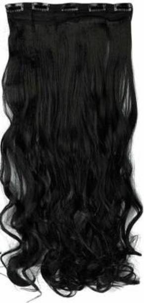 Vedica Stylish Best Quality Natural Black Wavy  Extension/ Accessories 5 Clips Hair Extension
