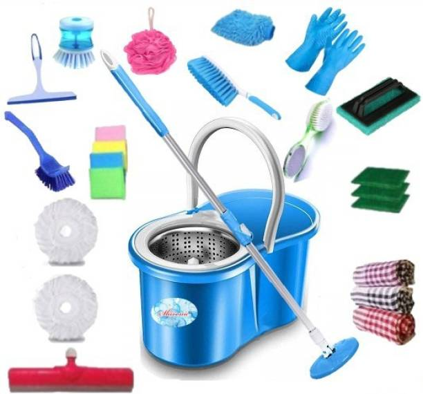 SHIVONIC House hold using cleaning bucket mop set combo Toilet Brush, Mop, Cleaning Cloth, Glove, Cleaning Wipe, Mop Set, Mop Refill, Floor Wiper, Bucket