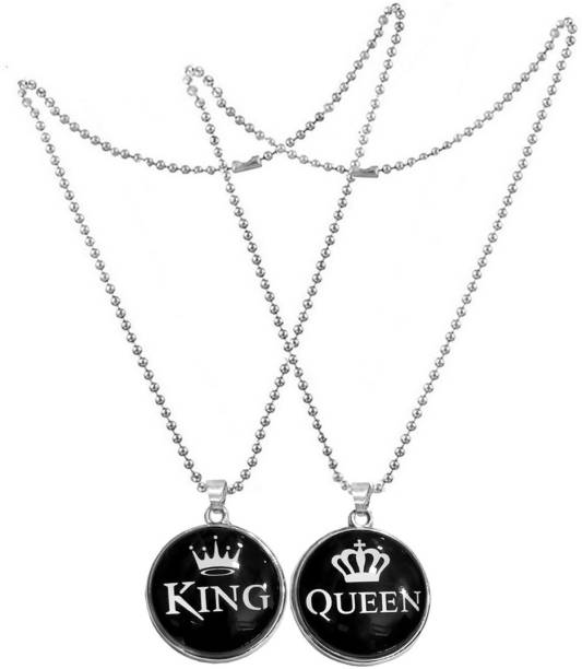 Men Style Valentine Gift Couple Matching Jewelry King And Queen Locket For His And Her Stainless Steel Pendant Set