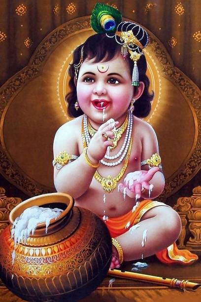 Lord Baby Krishna poster | HD poster for room decor (12x18-Inch, 300GSM Thick Paper, Gloss Laminated) Paper Print