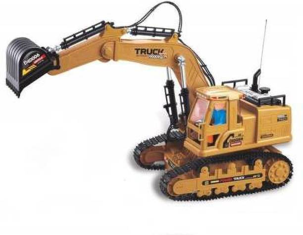 Khodiyar 7 Channel JCB Excavator & Bulldozer Construction Vehicle Toy (Multicolor) (Yellow)