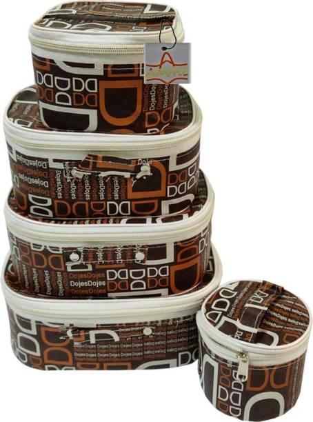 Aavni Set of 5 piece printed makeup,shaving,bangle storage vanity case makeup & jewellery Vanity Box