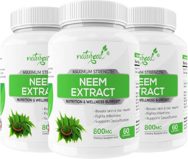 Natureal Neem Pure & Organic Extract 800mg Capsules for Skin, Hair Care & Herbal Detoxifier