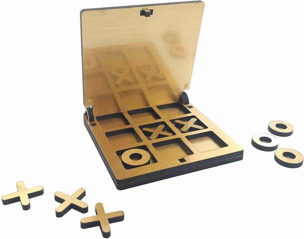 Kraftsman Wooden Tic Tac Toe Portable Game for Kids, Teens and Adults with Golden Mirror Shade Strategy & War Games Board Game