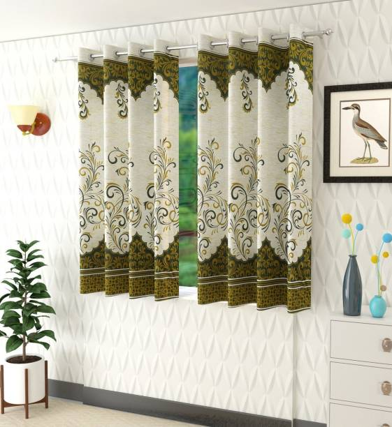 Panipat Textile Hub 152 cm (5 ft) Polyester Window Curtain (Pack Of 2)