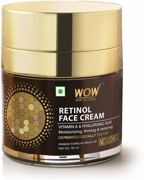 WOW SKIN SCIENCE Retinol Face Cream - Oil Free, Quick Absorbing - For All Skin Types - No Parabens, Silicones, Color, Mineral Oil & Synthetic Fragrance - 50mL