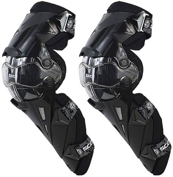 SCOYCO K12-3 Adjustable Knee and Shin Guards Protection Guard with Pads Flexible Breathable High-Impact Knee Pads for Motorcycle/Bike Knee Guard Free Black