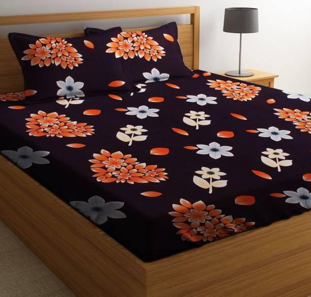 RS Quality 144 TC Microfiber Double Floral Bedsheet