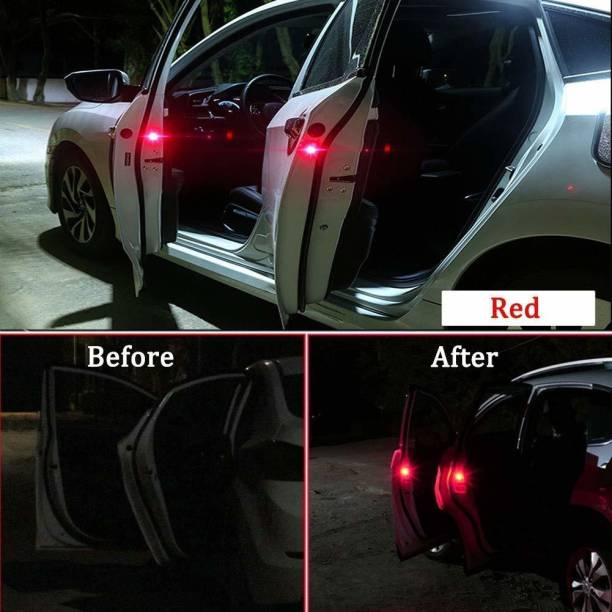 PRTEK Waterproof 5 LED Wireless Car Door Warning Open Lights Indicator Decor Interior Flash Magnetic Car Led Lights for Anti Rear-End(RED) Free Batteries (2 Pair 4 pcs) Car Fancy Lights