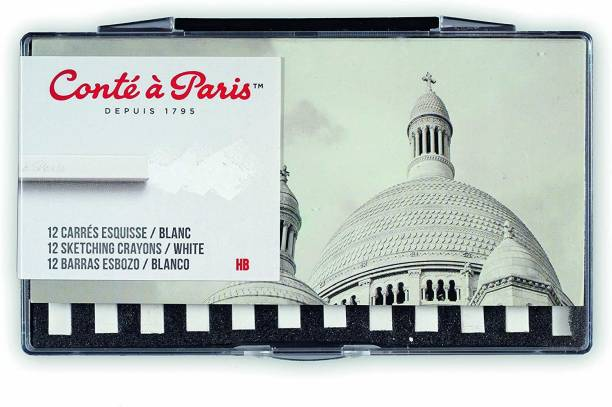 Cont Paris Conté à Paris 12 Count HB Sketching Crayons Set, White [CAT_397097]