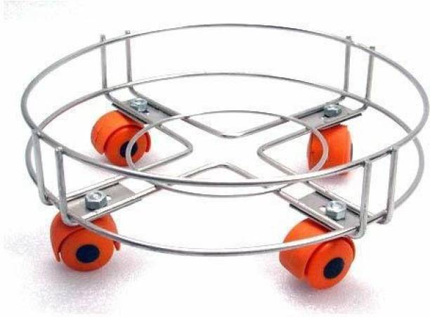 Value Adds Heavy Stainless Steel Gas Cylinder Trolley With Wheel   Gas Trolly   Lpg Cylinder Stand   Gas Trolly Wheel  Cylinder Trolley with Wheels   Cylinder Wheel Stand Gas Cylinder Trolley