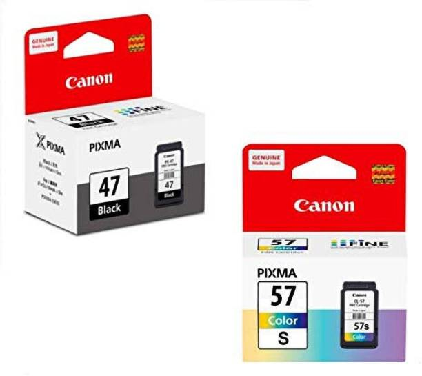 Canon PG-47 & CLI-57s Black + Tri Color Combo Pack Ink Cartridge