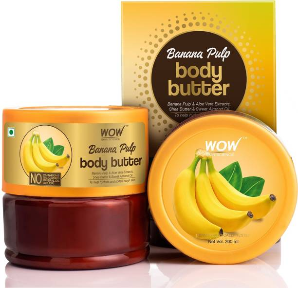 WOW SKIN SCIENCE Banana Pulp Body Butter - No Parabens, Silicones, Mineral Oil & Color - 200mL