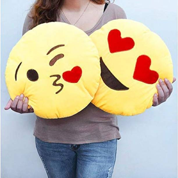 Kihome Modern Polyester Fibre Smiley Cushion Pack of 2
