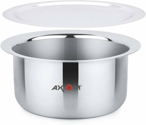 AXIOM STAINLESS STEEL Container/Tapeli/Patila/Bhagona/Tope 3500 ML with high grade LID (INDUCTION & GAS COMPATIBLE 25 cms- 4 LITRES FLAT BOTTOM) Tope with Lid