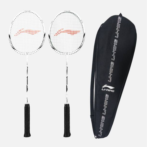 Li Ning XP 90 IV   strung     Pack of 2 With 1 full cover White, Silver Strung Badminton Racquet