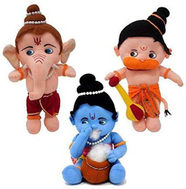 rkp Lord Ganesha, Krishna and Hanuman Hindu Idol Combo Fun Zoo Soft Plush Toy (Medium)  - 16 mm