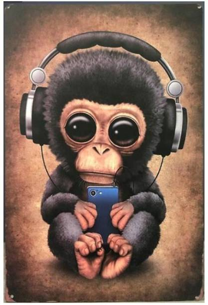 House of Queens Headphones Monkey Retro Vintage Decorative Tin Metal Sign For Home | Kitchen | Bar | Office | Wall Hanging Decor Sign