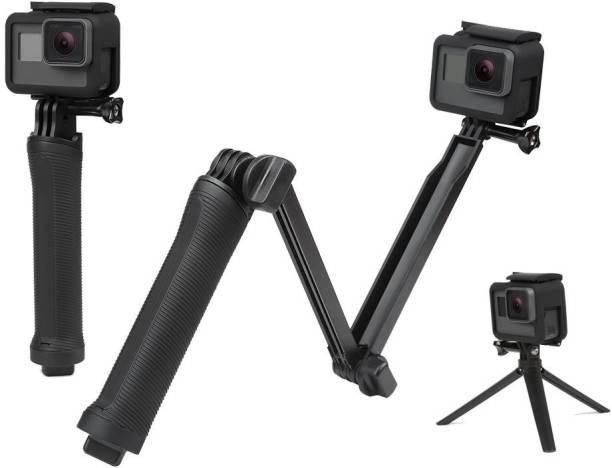 GiftMax 3-Way Monopod Grip Arm Tripod Foldable Selfie Stick, Stabilizer Mount Holder for GoPro Hero 7/6/5, SJCAM SJ6, SJ7, SJ5000, Yi and All Action Cameras Monopod