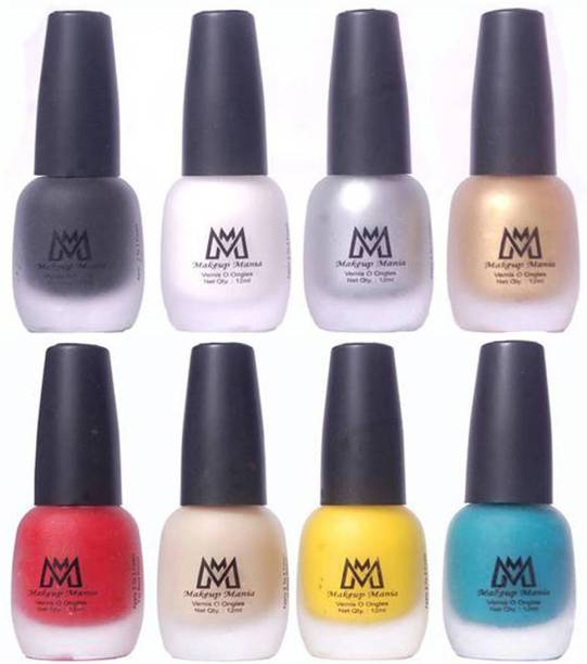 Makeup Mania Premium Nail Polish - Combo of 8 Velvet Matte Nail Paint - (MM# 15-19) Red, Yellow, Nude, Turquoise, Black, White, Silver, Golden