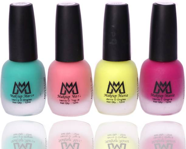 Makeup Mania Matte Nail Paint Combo, Home & Professional Use, (MM#65) Sea Green, Pink, Parrot Green, Magenta
