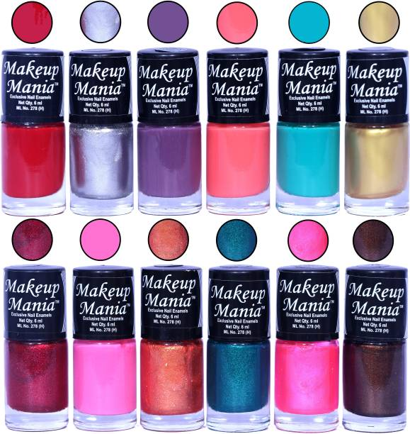 Makeup Mania HD Color Nail Polish Set of 12 Pcs (Combo MM-121) Red, Silver, Purple, Carrot Pink, Turqoise, Golden, Light Pink, Copper, Green Shimmer, Brown Sparkle