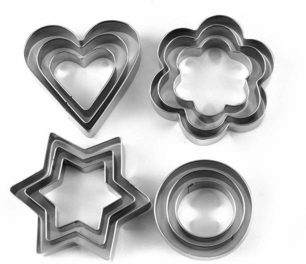 gopal trendz 12 Piece Stainless Steel Cookie Cutter, Metal Cake Vegetable Fruit Biscuit Cutters Molds Set, Hearts Flowers Stars Round Shape, Silver Cookie Cutter (Pack of 12) Cookie Cutter