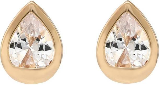 O' My Lady Earrings Fancy High Quality Antique Gold Plated Party Wear Ear Rings for Girls / Women Non Fading Black Diamond Metal Stud Earring