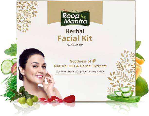 Roop Mantra Herbal Facial Kit for Glowing Skin (Cleansing Milk, Face Scrub, Massage Gel, Face Pack, Nourishing Cream, Face Bleach)