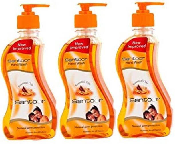 santoor Classic Sandalwood & Tulsi Gentle Ambz Handwash 215 Ml ( Pack of 3) Hand Wash Bottle