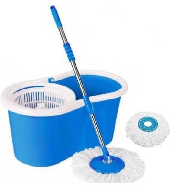 MiniPy Magic Dry Bucket Mop - 360 Degree Self Spin Wringing With 2 Super Absorbers Mop