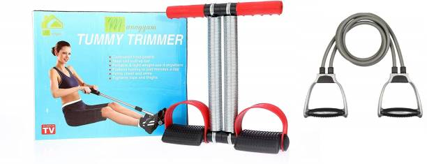 Manogyam FAT BURNING AND MUSCLE BUILDING TUMMY TRIMMER/CRUNCHER & DOUBLE TONING TUBE COMBO Home Gym Kit