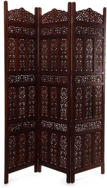 Decorhand Handcrafted 3 Panel Wooden Room Partition & Room Divider (Dark Brown) Mango Wood Decorative Screen Partition Solid Wood Decorative Screen Partition
