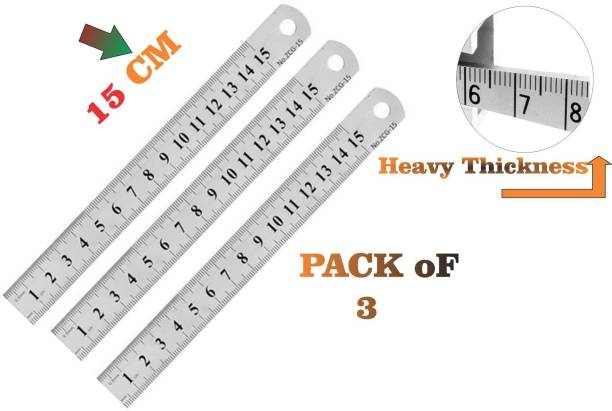 Tshot Ruler Scale Stainless Steel Pack of 3(15 cm) Ruler