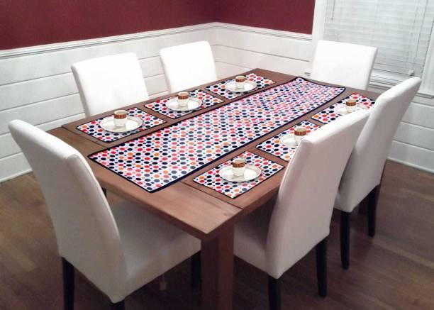 mavihs White, Red, Orange Table Linen Set