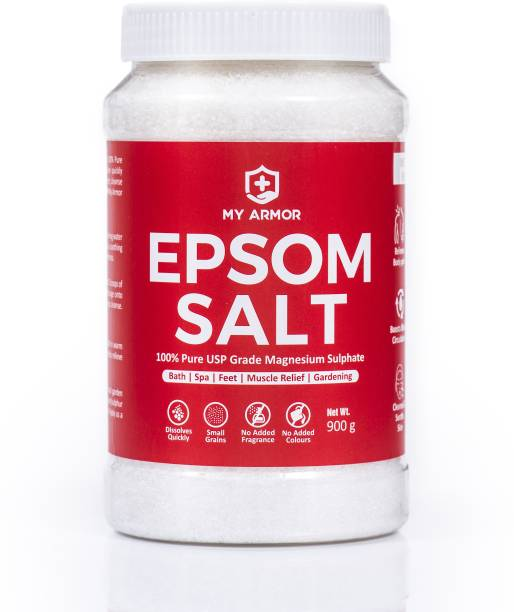MY ARMOR Epsom Salt (100% Pure USP Grade Bath Salt), FREE SCOOP, Relieves Muscle Aches and Pain, Gardening