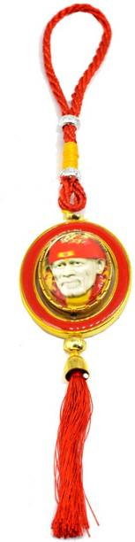 faynci Shirdiwale Saibaba Double Sided Religious Red Car Rearview Mirror Hanging Ornament/Interior Wall Hanging Showpiece for good luck Car Hanging Ornament