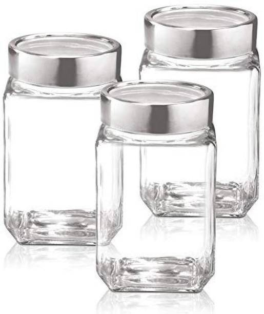 OSWORLD 300 ML Cube glass jar kitchen storage And sweets and dryfruit container Canister kitchen set and Glass jar set of 3  - 300 ml Glass Grocery Container