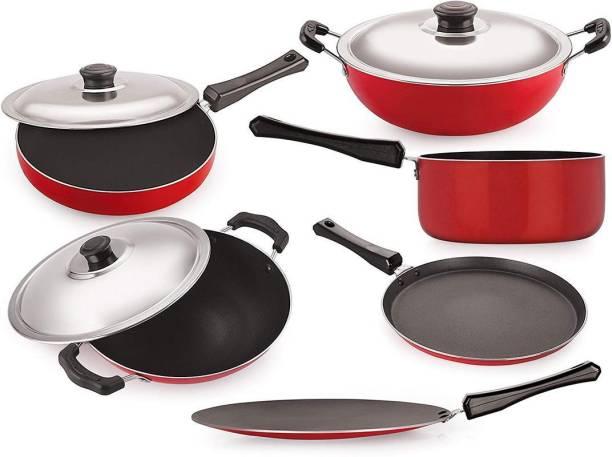 NIRLON Nonstick Cookware Set Standard ,6-Pieces,Black and Red Cookware Set