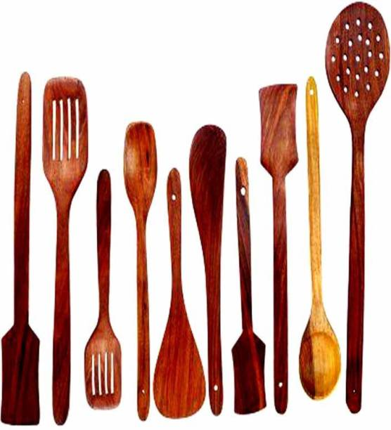 NABIL CREATION Cooking Spoon Set of 10 Pc,Wooden Spatula for Cooking/Serving/Spatula,Kitchen Spoon/Spatula Set for Cooking (Brown, Wood) Wooden Cutlery Set