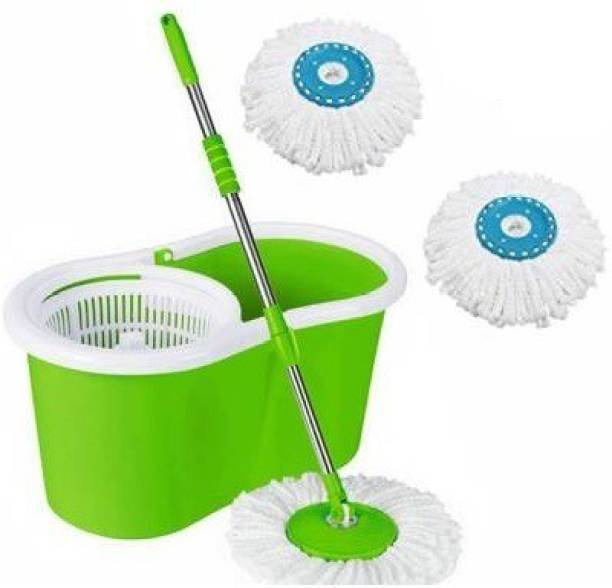 MiniPy Magic Dry Bucket Mop - 360 Degree Self Spin Wringing With 3 Super Absorbers for Home & Office Floor Mop Set Mop