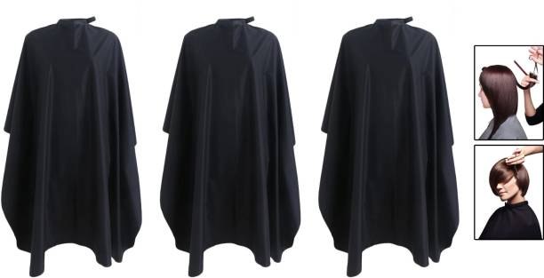 Angel Infinite Hair Cutting Apron Cape For Saloon and Beauty Parlour, Barber Hair Tool Cloth Apron for Men and Women (Black, Set Of 3) Makeup Apron