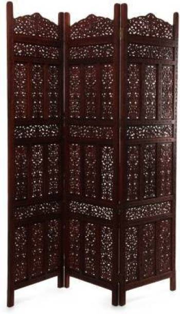 Artesia Handcrafted 3 Panel Wooden Room Partition & Room Divider (Dark Brown) Solid Wood Decorative Screen Partition