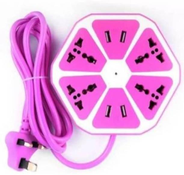 RACRO RACRO_70E_USB-BOARD 4 USB 2.1Amp charging point Universal Hexagon Socket Extension board with 4 Port USB Hub 6  Socket Extension Boards