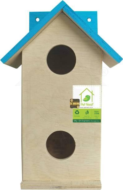 PetNest DECO5 - SkyBlue Duplex Decorative Bird House Nest Box for Sparrow, Finches Bird House