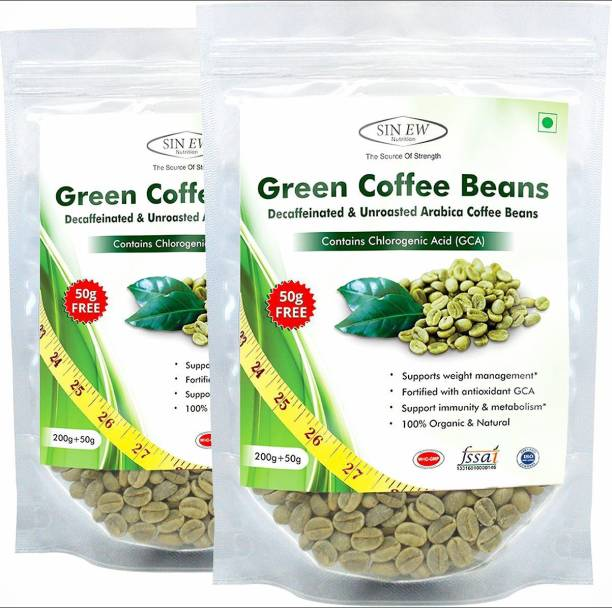 SINEW NUTRITION Organic Green Coffee Beans for Weight Management & Fat Loss - (250 g x 2) Instant Coffee