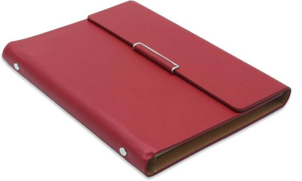 PAPERLLA Business Faux Leather Undated Planner / Diary With Pen (Crimson Red) B5 Diary RULING 160 Pages