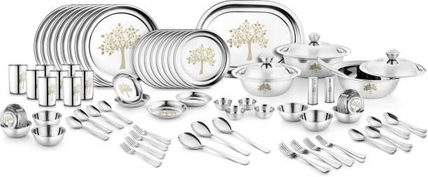 Jensons Pack of 91 Stainless Steel Kalpataru 91 Pcs Dinner Set-LASER Dinner Set